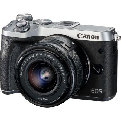 Фотоаппарат CANON EOS M6 kit ( 15-45 IS STM f/ 3.5-6.3), черный/ серебристый