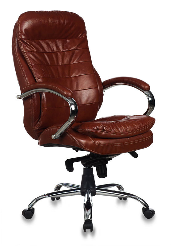 Кресло руководителя БЮРОКРАТ T-9950AXSN, на колесиках, кожа/кожзам, коричневый [t-9950axsn/brown]