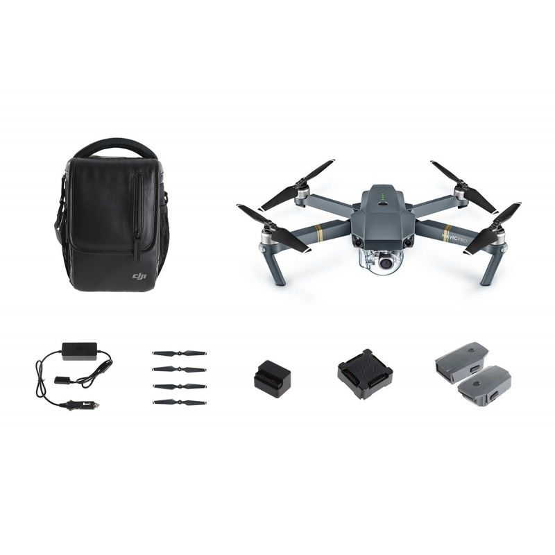 Квадрокоптер DJI Mavic PRO Fly More COMBO с камерой, серый квадрокоптер dji mavic air fly more combo eu arctic white