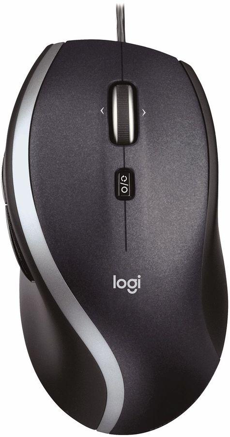 Мышь LOGITECH M500 лазерная проводная USB, черный и серебристый [910-003726]