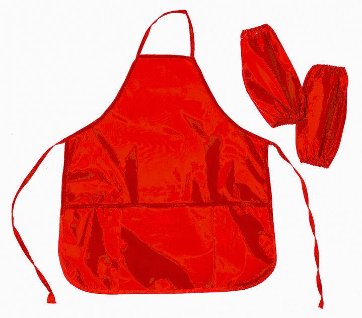 Фартук для уроков труда Silwerhof 671008 красный 6-12лет с нарукав. 3карм. полиэстер 54x45см