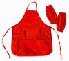 Фартук для уроков труда Silwerhof 671008 красный 6-12лет с нарукав. 3карм. полиэстер 54x45см вид 1