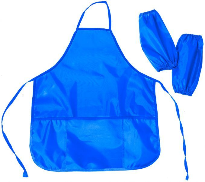 Фартук для уроков труда Silwerhof 671009 синий 6-12лет с нарукав. 3карм. полиэстер 54x45см