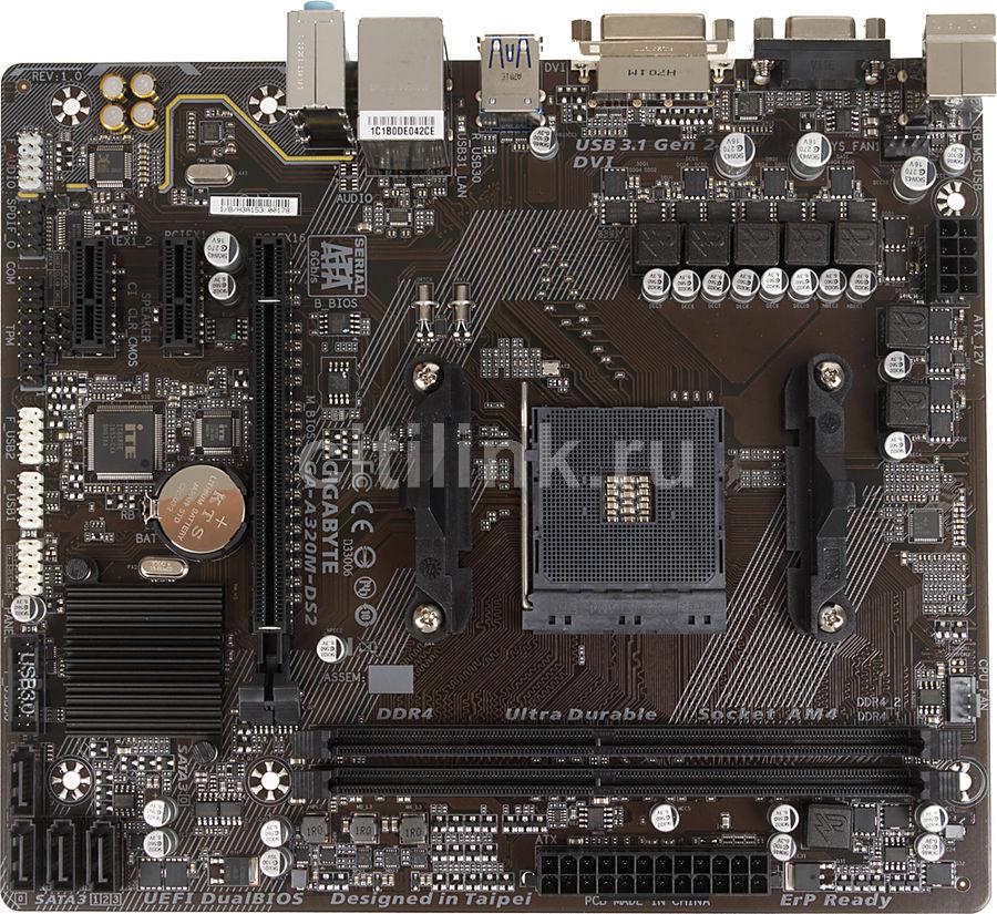 Материнская плата Gigabyte GA-A320M-DS2 Soc-AM4 AMD A320 2xDDR4 mATX AC`97 8ch(7.1) GbLAN RAID+(Б/У)