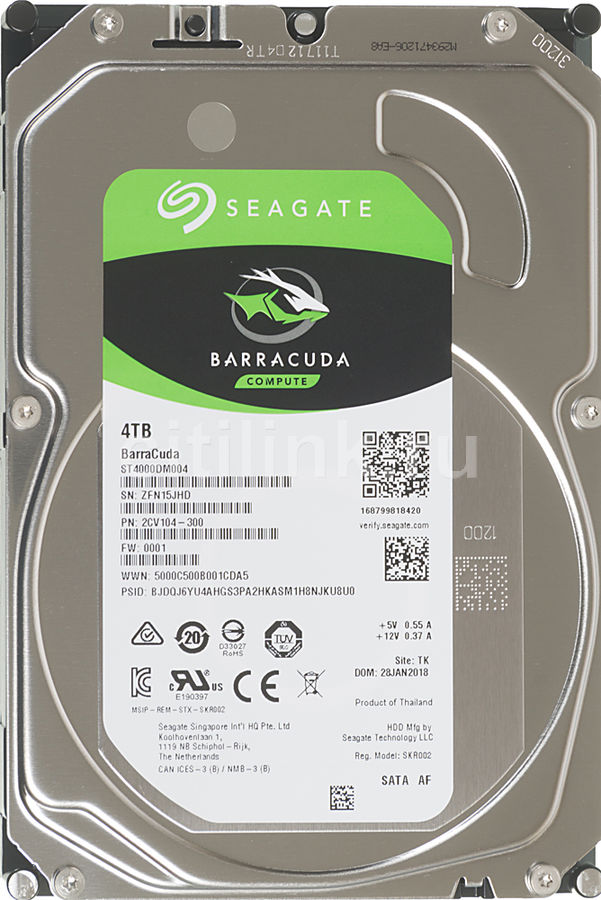 Жесткий диск SEAGATE Barracuda ST4000DM004,  4Тб,  HDD,  SATA III,  3.5""
