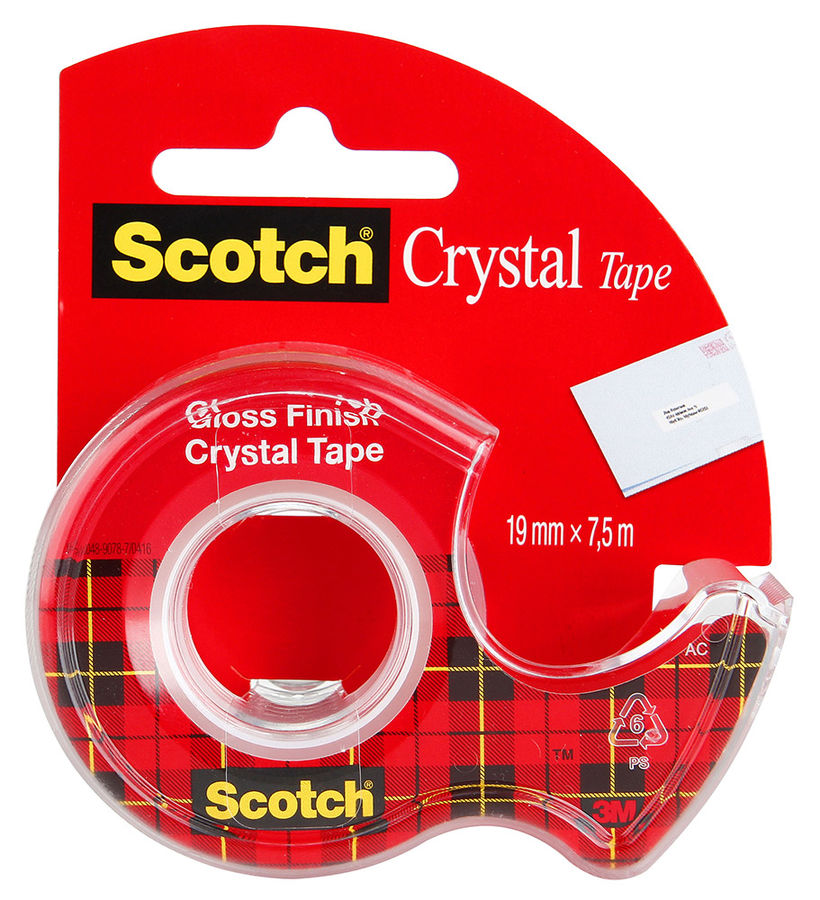 Клейкая лента канцелярская 3M Scotch Crystal 7100093859 прозрачная шир.19мм дл.7.5м на мини-диспенсеКлейкая лента<br>ширина: 19мм; длина: 7.5м<br>