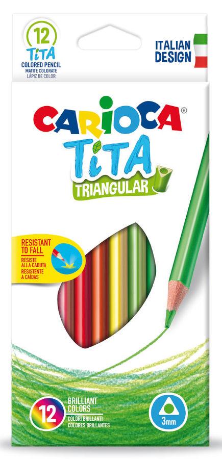 Карандаши цветные Carioca TITA 42786 трехгран. пластик 12цв. коробка/европод.