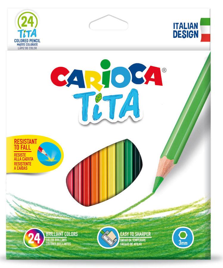Карандаши цветные Carioca TITA 42794 шестигран. пластик 24цв. коробка/европод.