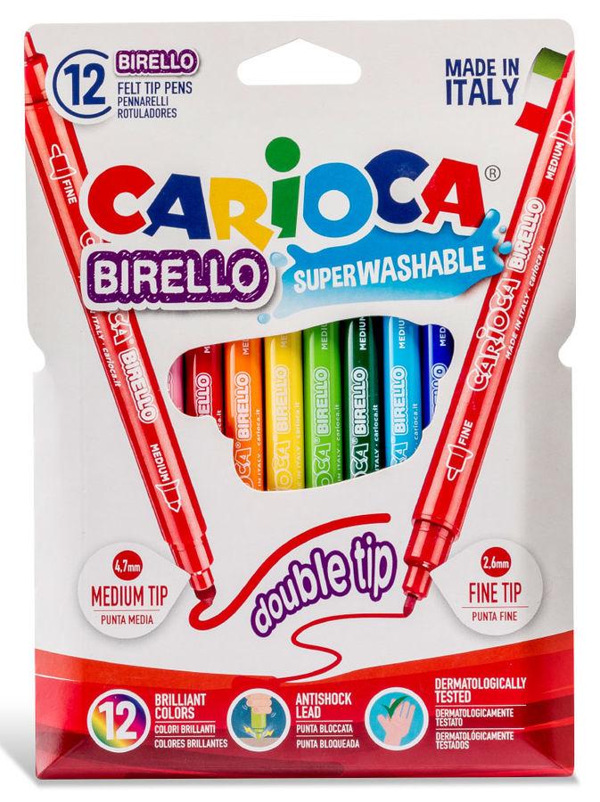 Фломастеры Carioca BIRELLO 42753 двусторонние 12цв. блистер картонный