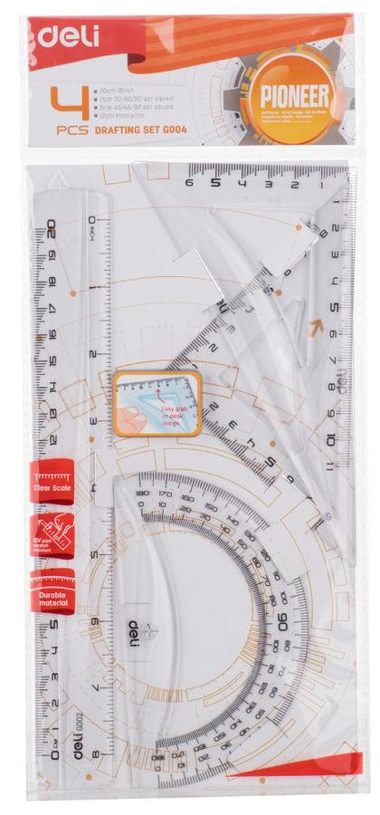 Набор линеек Deli Pioneer EG00412 пластик прозрачный компл.:лин.20см./треуг.2шт./трансп. европодвес