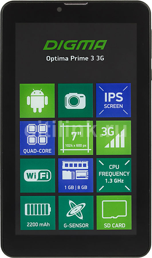 Планшет DIGMA Optima Prime 3 3G, 1GB, 8GB, 3G, Android 7.0 черный [ts7131mg] планшетный компьютер digma optima prime 3 8gb 3g black ts7131mg