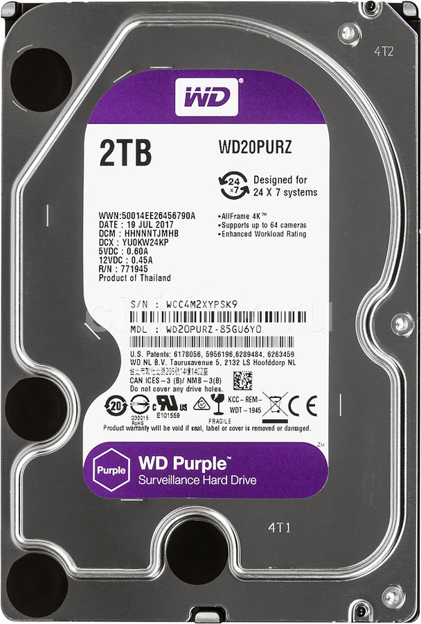 Жесткий диск WD Purple WD20PURZ, 2Тб, HDD, SATA III, 3.5 корпус для hdd orico 9528u3 2 3 5 ii iii hdd hd 20 usb3 0 5