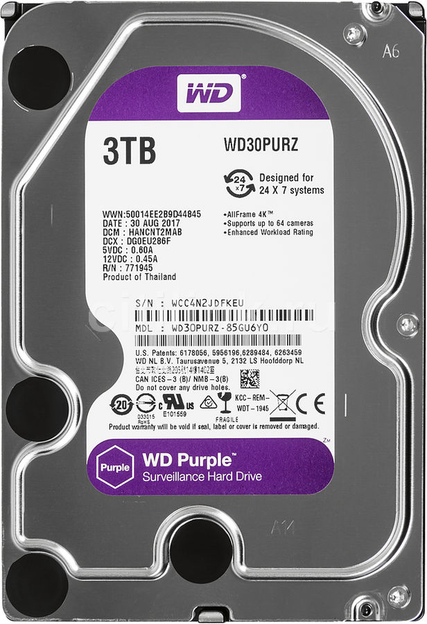"Жесткий диск WD Purple WD30PURZ,  3Тб,  HDD,  SATA III,  3.5"""