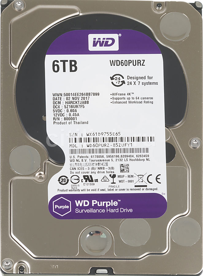 "Жесткий диск WD Purple WD60PURZ,  6Тб,  HDD,  SATA III,  3.5"""