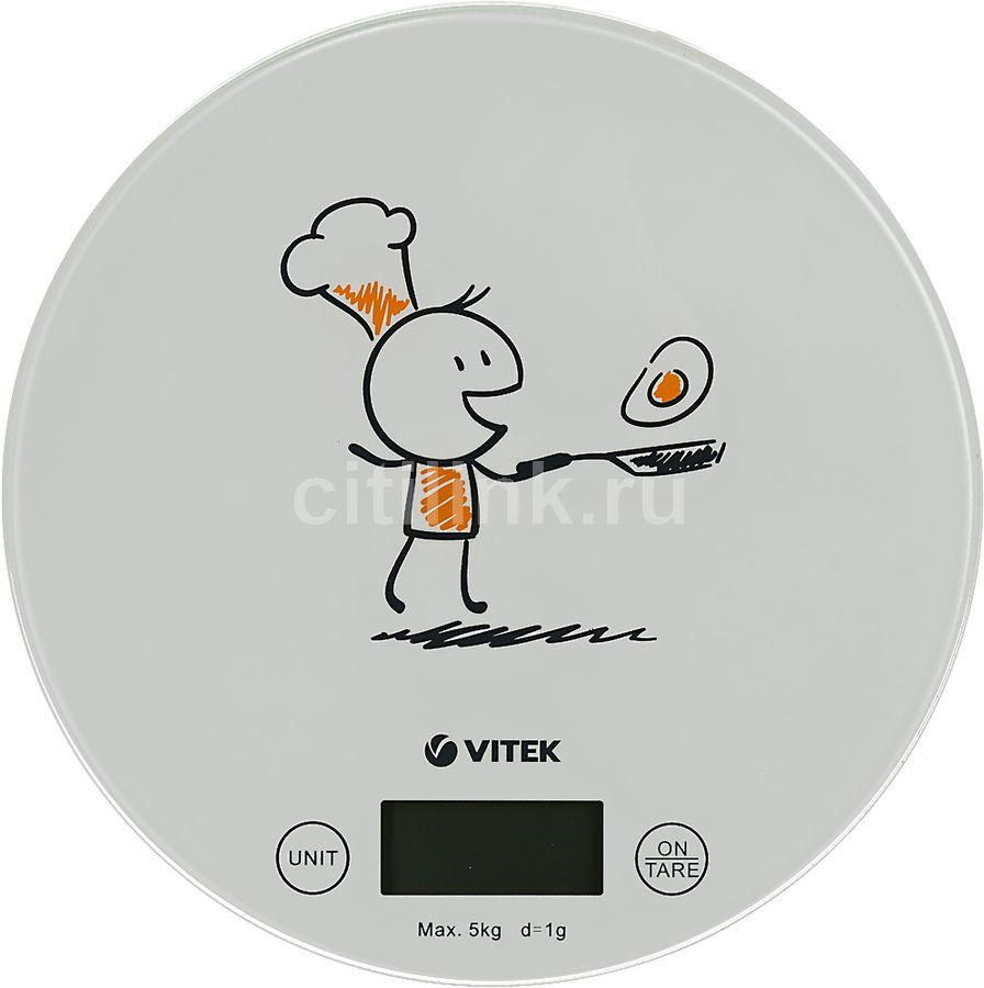 Весы кухонные VITEK VT-8018,  белый/рисунок