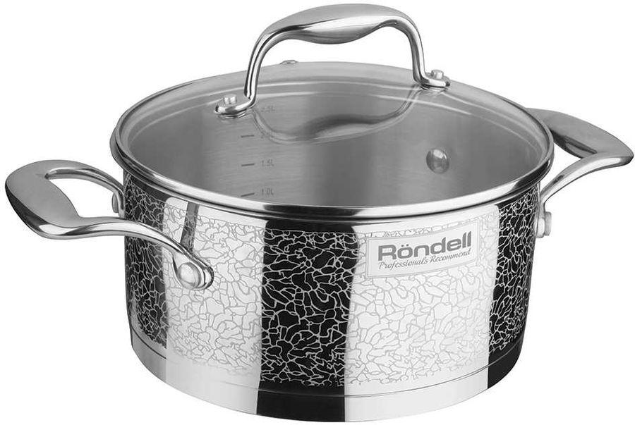 Кастрюля RONDELL Vintage 0342-RD-01, 2л, с крышкой,  серебристый