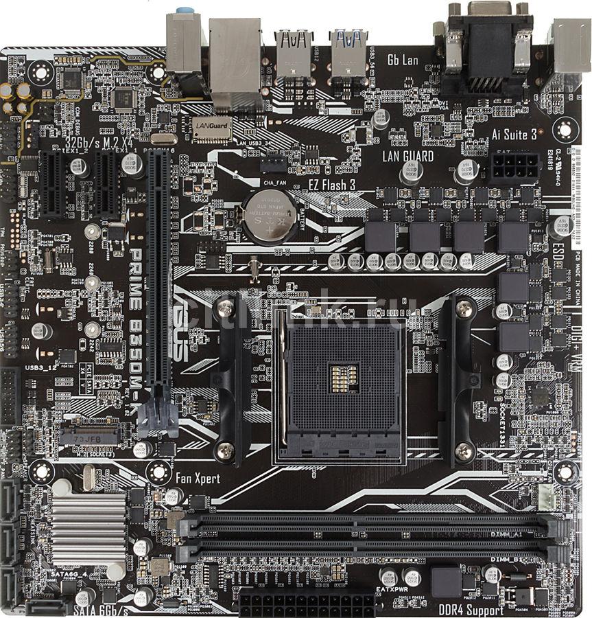Материнская плата Asus PRIME B350M-K Soc-AM4 AMD B350 2xDDR4 mATX AC`97 8ch(7.1) G (отремонтированный)