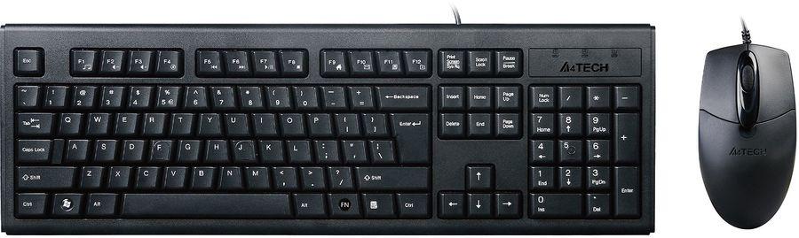 Комплект (клавиатура+мышь) A4 KRS-8372, USB, проводной, черный