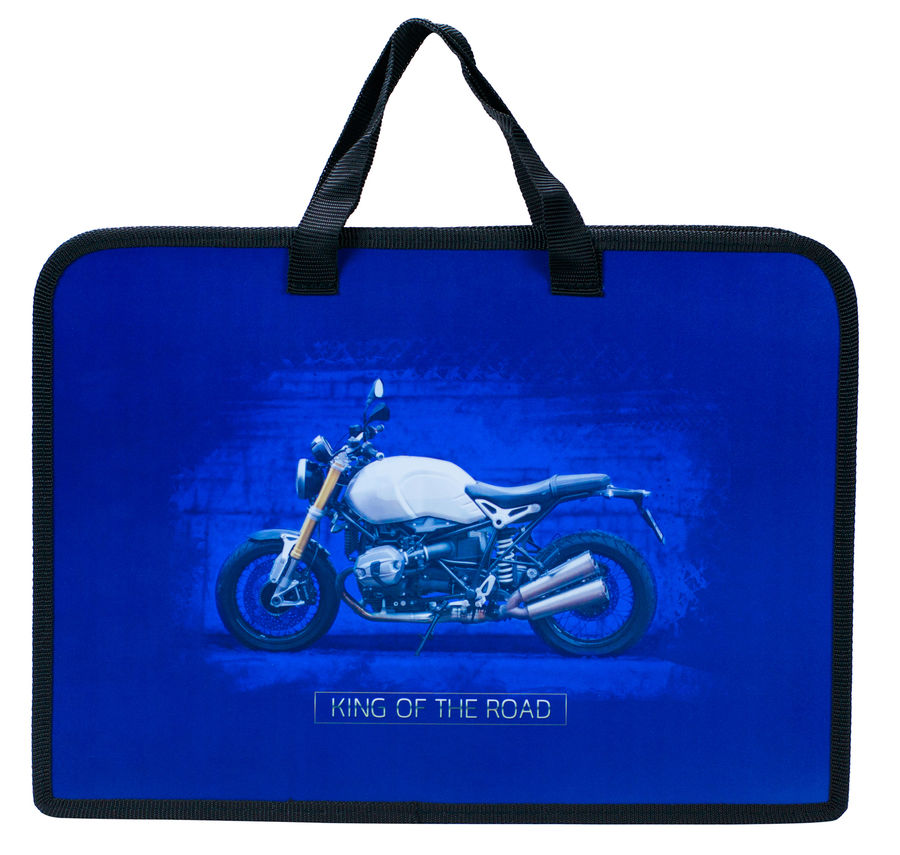 Папка для тетрадей Silwerhof 671922 Мотоцикл A4 340х245х40мм 1отд. пластик на молнии руч.тесьма