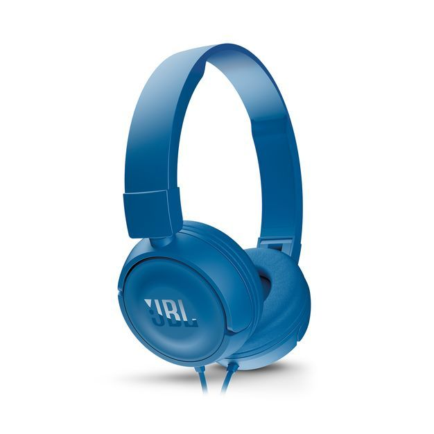Наушники с микрофоном JBL T450, 3.5 мм, накладные, синий [jblt450blu]