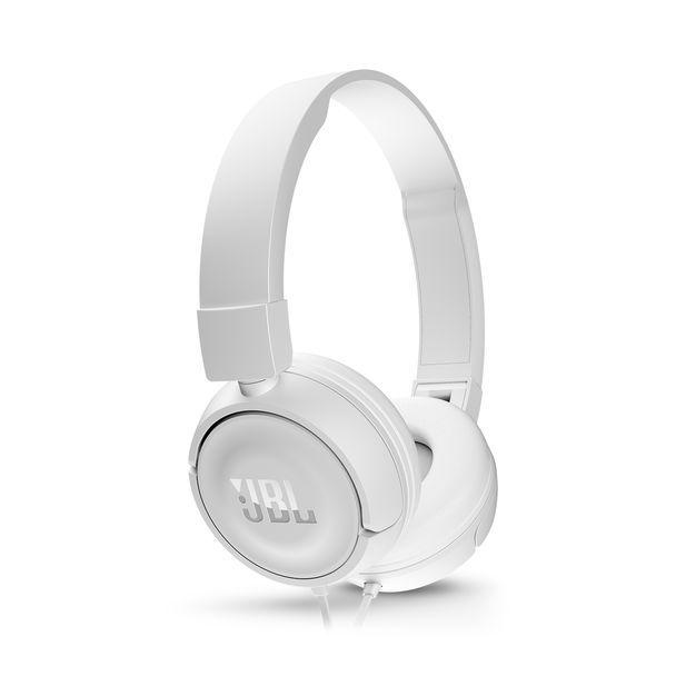 Наушники с микрофоном JBL T450, 3.5 мм, накладные, белый [jblt450wht]