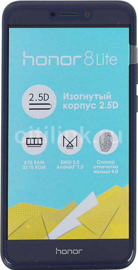 Смартфон HUAWEI Honor 8 Lite 32Gb, синий сотовый телефон huawei honor 8 lite 32gb white