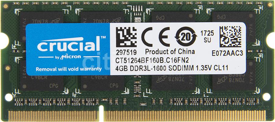 Модуль памяти CRUCIAL CT51264BF160B DDR3L -  4Гб 1600, SO-DIMM,  Ret