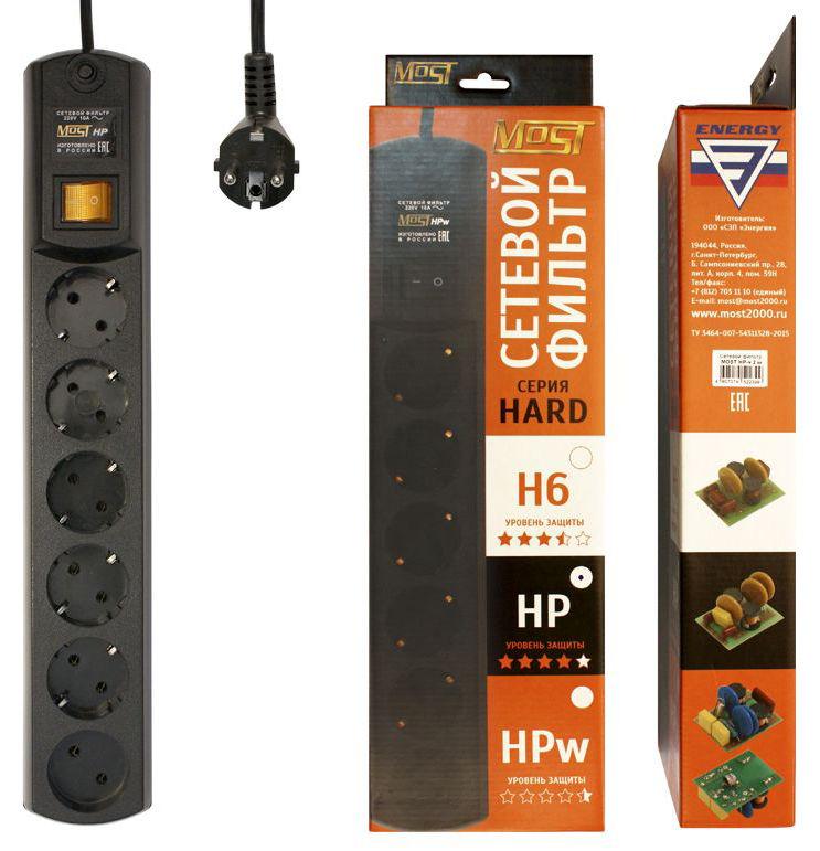 Сетевой фильтр MOST HP, 2м, черный [hp 2м чер]
