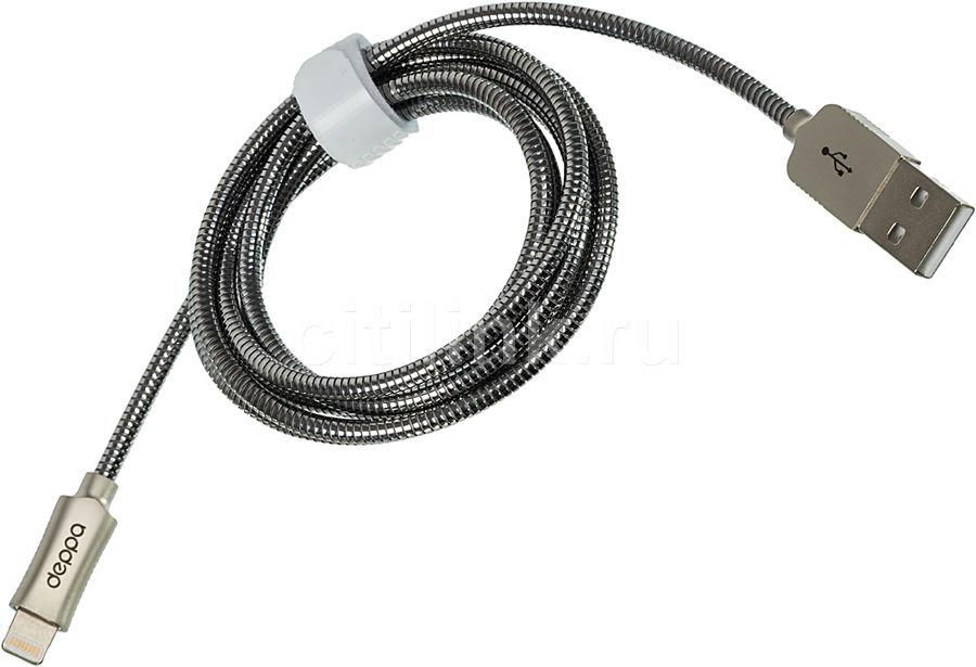 Кабель DEPPA Steel,  Lightning (m),  USB A(m),  1.2м,  MFI,  стальной [72272]