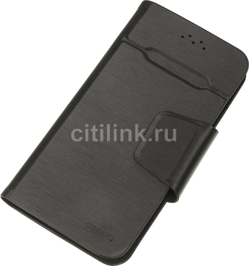 """Чехол (флип-кейс) DEPPA Wallet Fold, для универсальный 4.3-5.5"""", черный [87005]"""