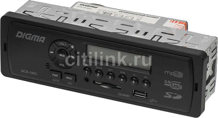 Автомагнитола DIGMA DCR-100G,  USB,  SD/MMC