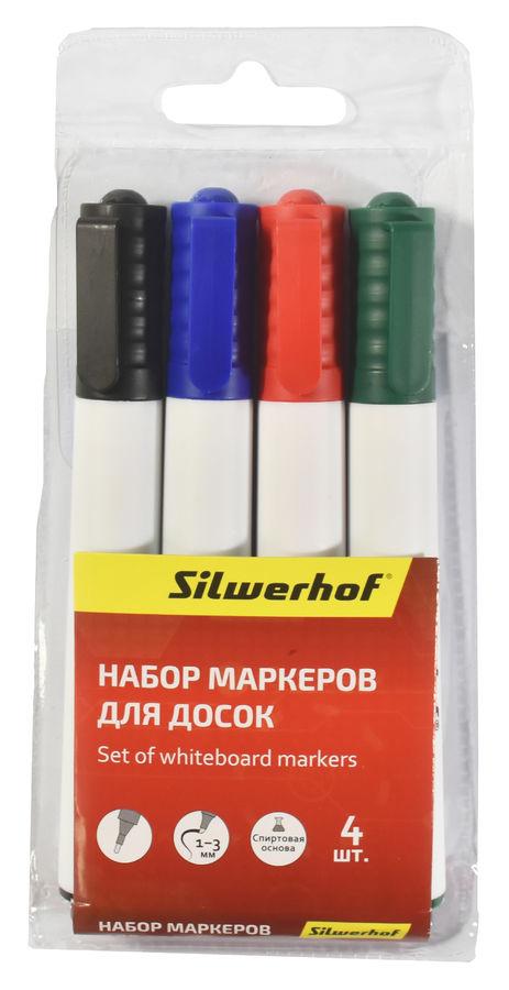 Набор маркеров для досок Silwerhof PRIME 118005-00 (толщина линии 1-3мм) 4цв. пакет с европодвесом