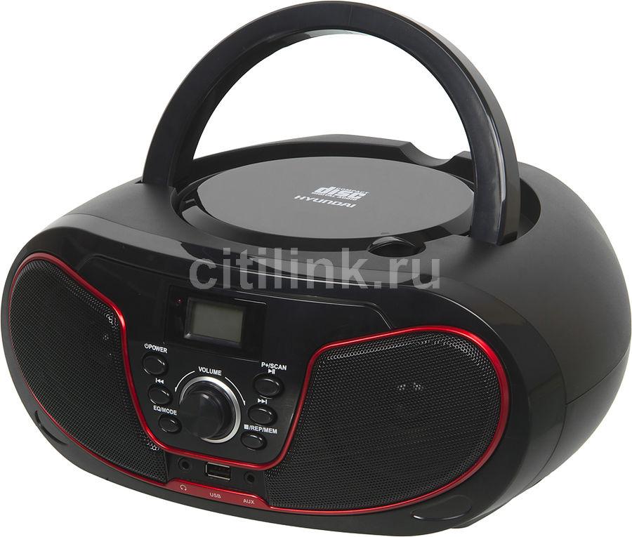 Аудиомагнитола HYUNDAI H-PCD180,  черный и красный