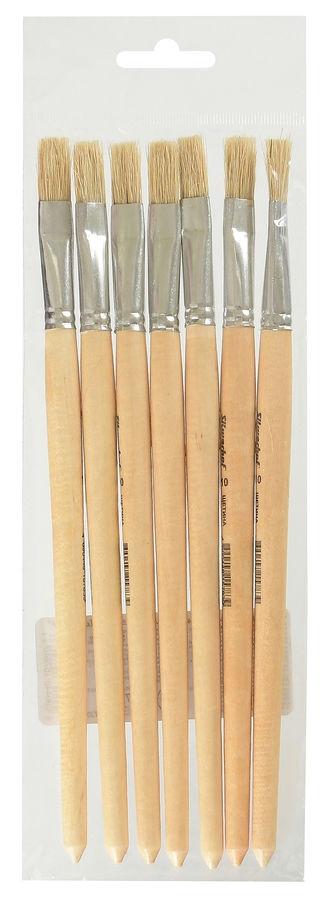 Кисть Silwerhof 983052 Пластилиновая кол-ция оформит. щетина плоск. №10 дерев.лакир.ручка