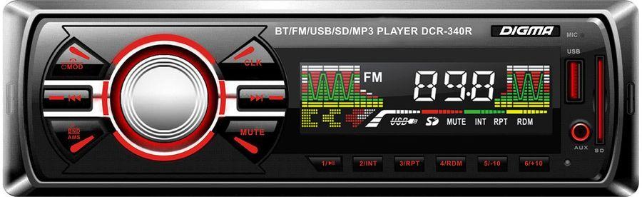 Автомагнитола DIGMA DCR-340R,  USB,  SD/MMC