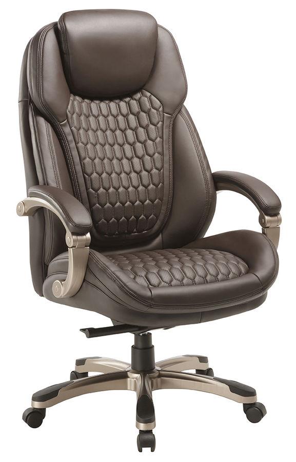 Кресло руководителя БЮРОКРАТ T-9917, на колесиках, рециклированная кожа/кожзам, коричневый [t-9917/brown]