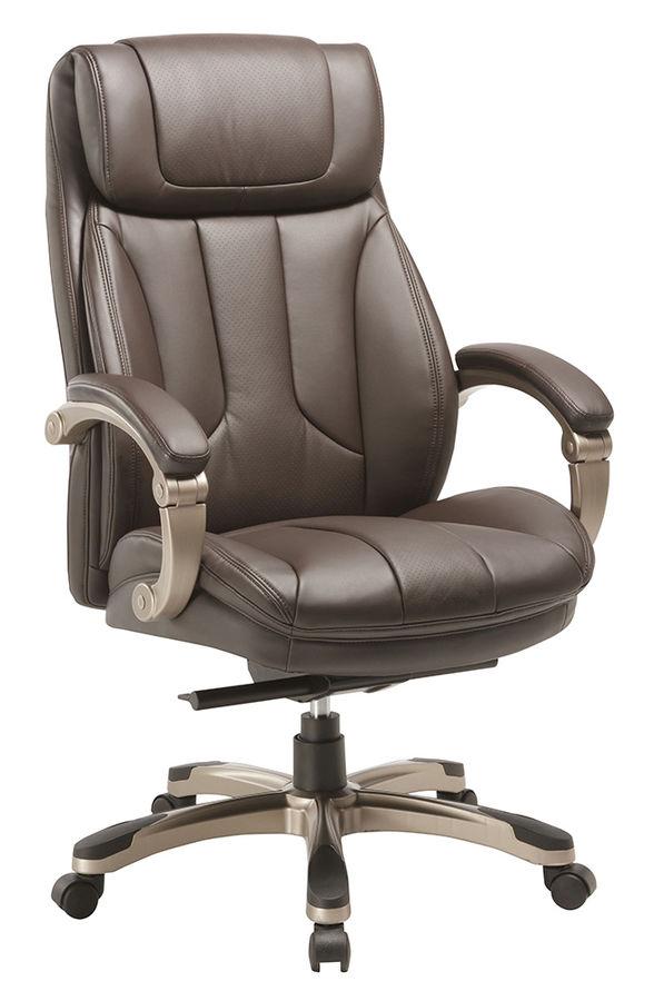 Кресло руководителя БЮРОКРАТ T-9921, на колесиках, рециклированная кожа/кожзам [t-9921/brown]