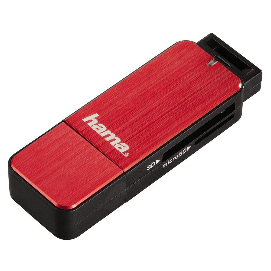 Картридер внешний HAMA H-123900, красный [00123902]