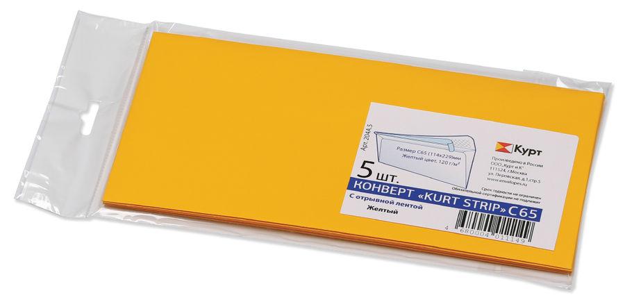Конверт 204А.5 C65 114x229мм желтый клеевой слой 120г/м2 (pack:5pcs)