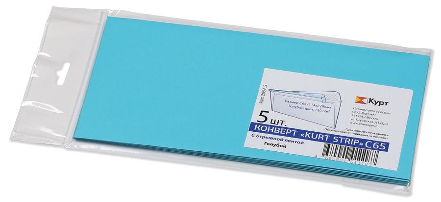 Конверт 209А.5 C65 114x229мм голубой клеевой слой 120г/м2 (pack:5pcs)