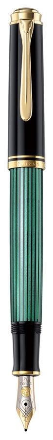Ручка перьевая Pelikan Souveraen M 400 (994863) черный/зеленый M золото 14K покрытое родием подар.ко