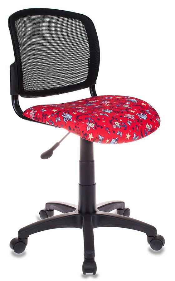 Кресло детское БЮРОКРАТ CH-296, на колесиках, ткань, красный/принт [ch-296/anchor-rd]