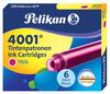 Картридж Pelikan INK 4001 TP/6 (321075) розовые чернила для ручек перьевых (6шт) вид 1