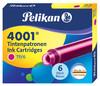 Картридж Pelikan INK 4001 TP/6 (321075) розовые чернила для ручек перьевых (6шт) вид 2