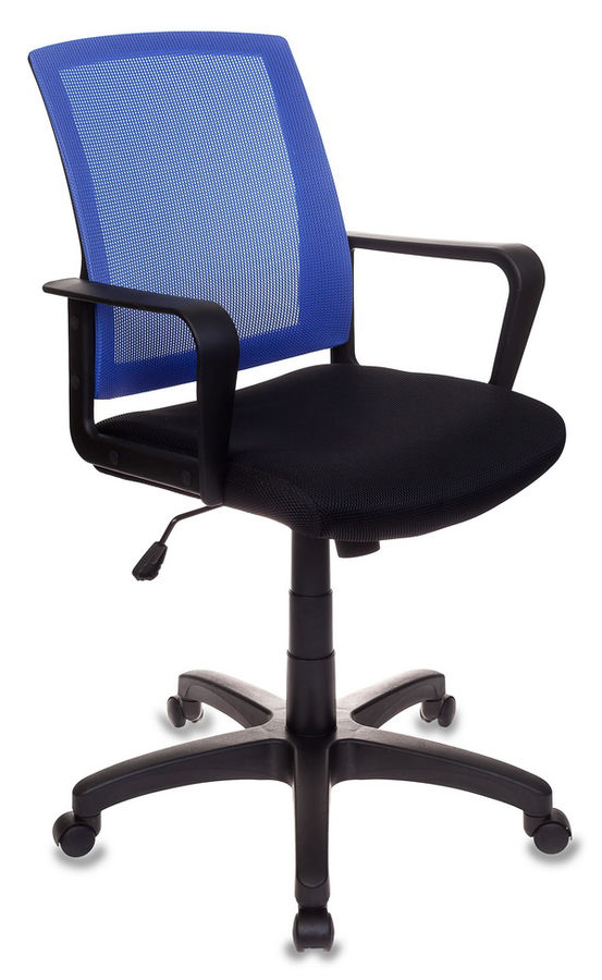 Кресло БЮРОКРАТ CH-498, на колесиках, ткань, черный/синий [ch-498/bl/tw-11]