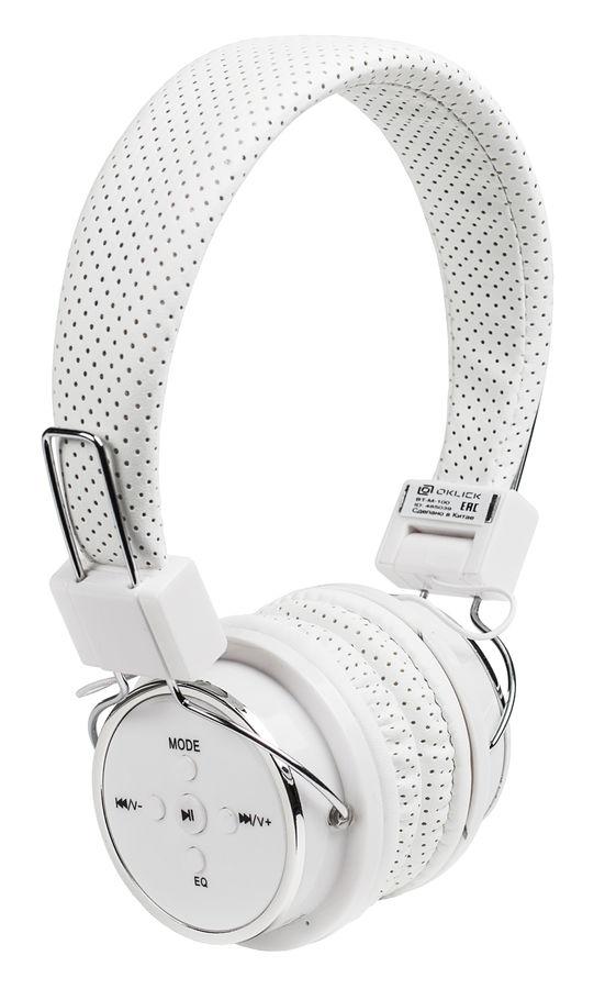 Наушники с микрофоном OKLICK BT-M-100, 3.5 мм/Bluetooth, накладные, белый [bh155]