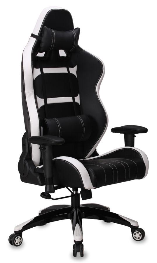 Кресло игровое БЮРОКРАТ 772, на колесиках, искусственная кожа, черно-белый [ch-772/black+wh]
