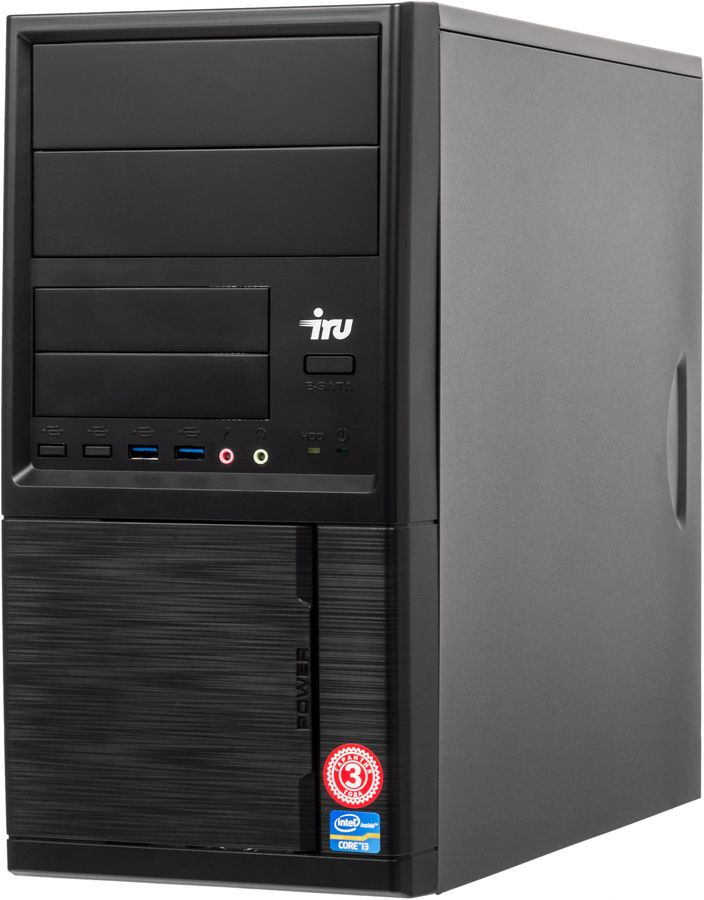 Компьютер IRU Office 321, AMD A6 7400K, DDR3 4Гб, 1000Гб, AMD Radeon R5, Windows 10 Professional, черный