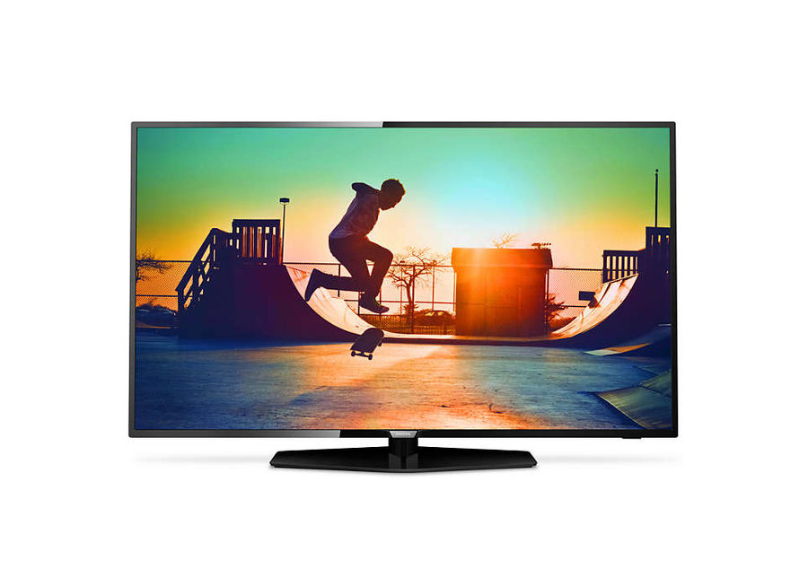LED телевизор PHILIPS 43PUT6162/60 R, 43, Ultra HD 4K (2160p), черный телевизор philips 32pht4100 60 hd pmr 100 черный
