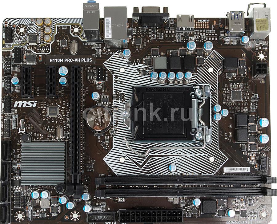 Материнская плата MSI H110M PRO-VH PLUS Soc-1151 Intel H110 2xDDR4 mATX AC`97 8ch( (отремонтированный)